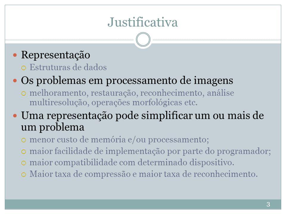 Justificativa 3 Representação  Estruturas de dados Os problemas em processamento de imagens  melhoramento, restauração, reconhecimento, análise mult