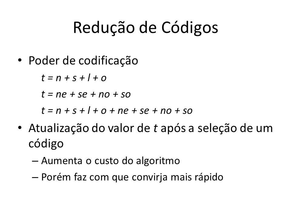 Redução de Códigos Poder de codificação t = n + s + l + o t = ne + se + no + so t = n + s + l + o + ne + se + no + so Atualização do valor de t após a