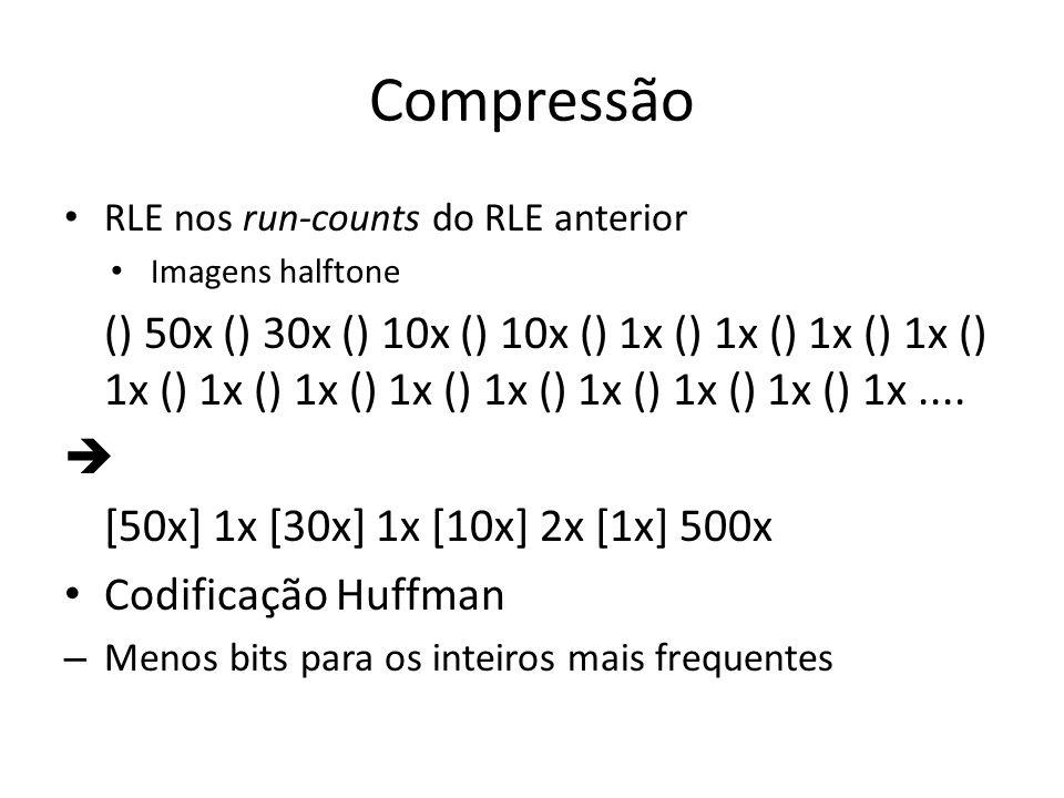 Compressão RLE nos run-counts do RLE anterior Imagens halftone () 50x () 30x () 10x () 10x () 1x () 1x () 1x () 1x () 1x () 1x () 1x () 1x () 1x () 1x