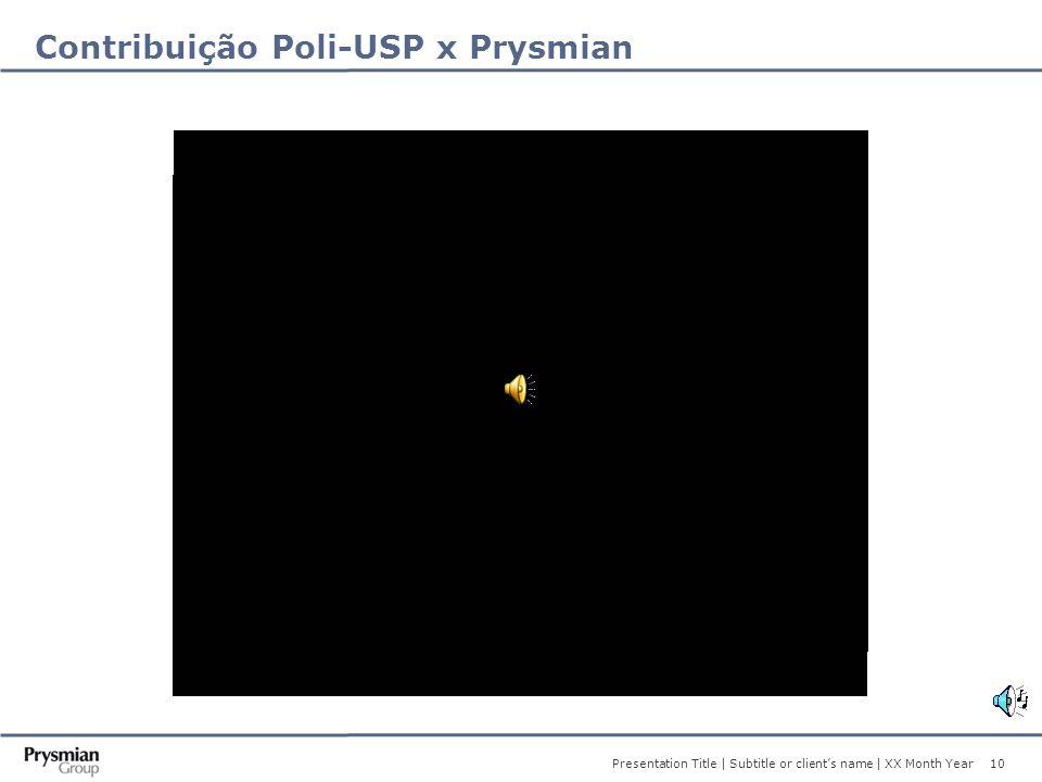 10 Presentation Title | Subtitle or client's name | XX Month Year Contribuição Poli-USP x Prysmian