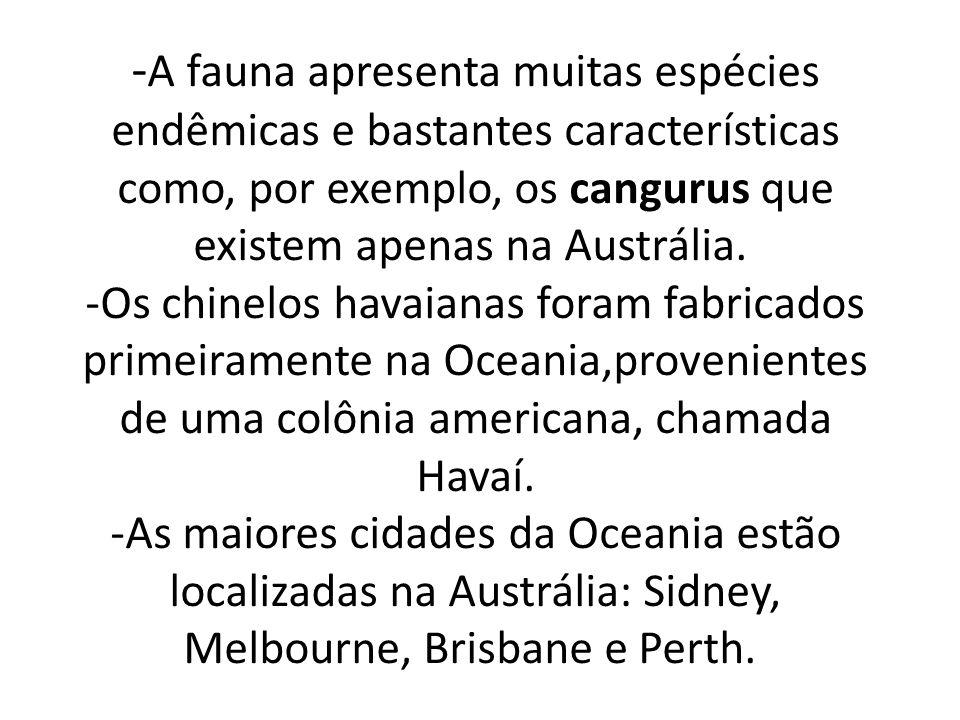 - A fauna apresenta muitas espécies endêmicas e bastantes características como, por exemplo, os cangurus que existem apenas na Austrália.