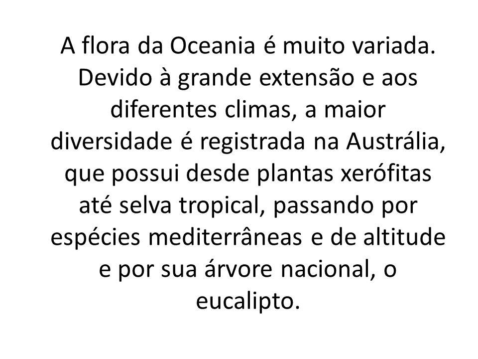 A Oceania é formada por uma variedade de climas, que em geral são quentes e secos com grandes variações.