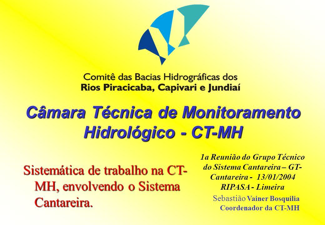 Câmara Técnica de Monitoramento Hidrológico - CT-MH Sistemática de trabalho na CT- MH, envolvendo o Sistema Cantareira. 1a Reunião do Grupo Técnico do