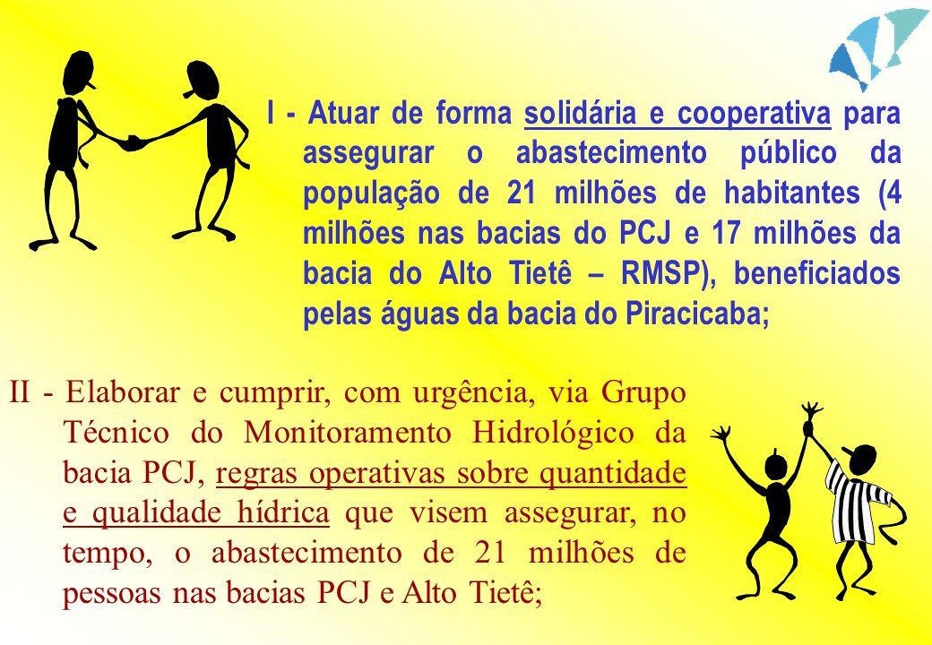 I - Atuar de forma solidária e cooperativa para assegurar o abastecimento público da população de 21 milhões de habitantes (4 milhões nas bacias do PC