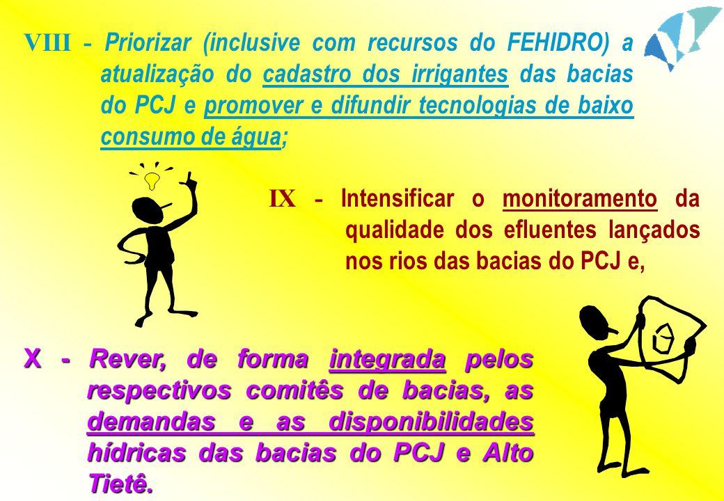 VIII - Priorizar (inclusive com recursos do FEHIDRO) a atualização do cadastro dos irrigantes das bacias do PCJ e promover e difundir tecnologias de b