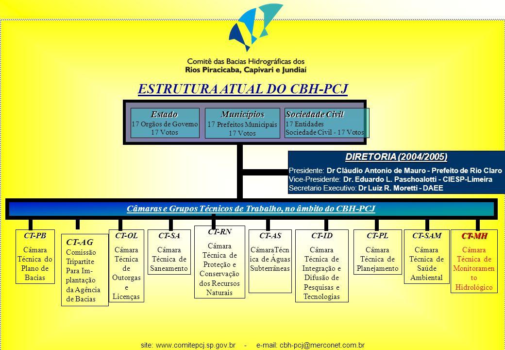 ESTRUTURA ATUAL DO CBH-PCJ DIRETORIA (2004/2005) Presidente: Dr Cláudio Antonio de Mauro - Prefeito de Rio Claro Vice-Presidente: Dr. Eduardo L. Pasch