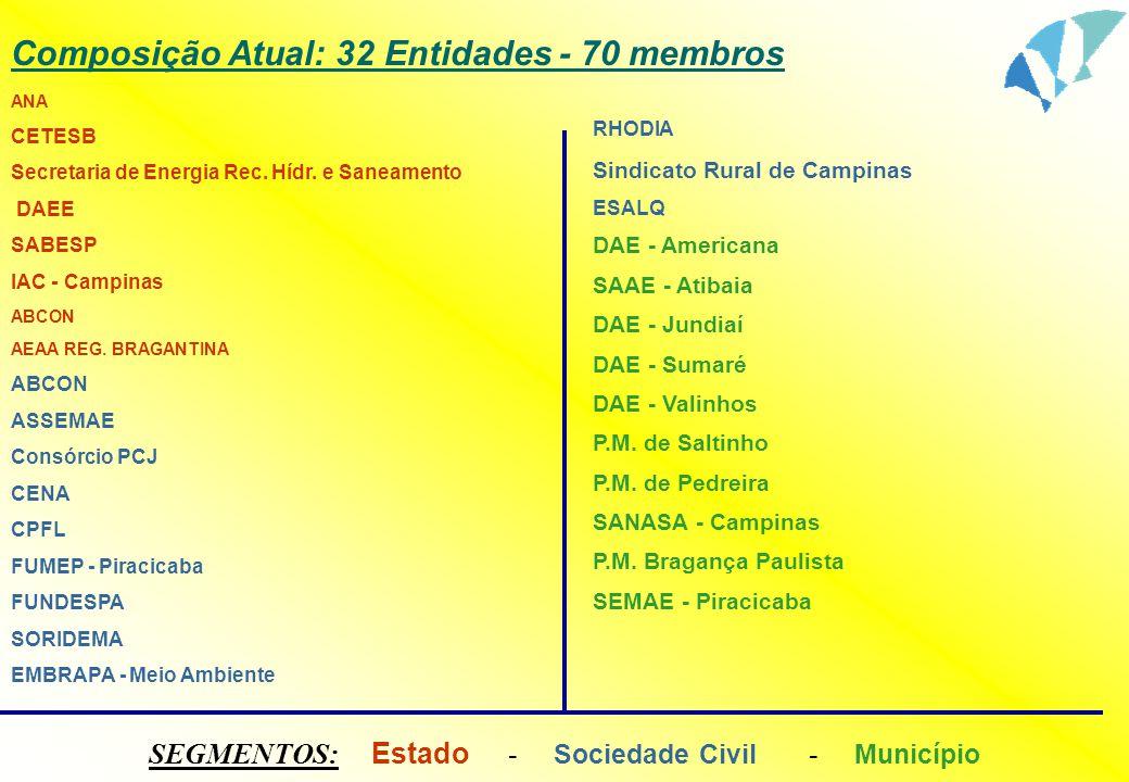 Composição Atual: 32 Entidades - 70 membros ANA CETESB Secretaria de Energia Rec. Hídr. e Saneamento DAEE SABESP IAC - Campinas ABCON AEAA REG. BRAGAN