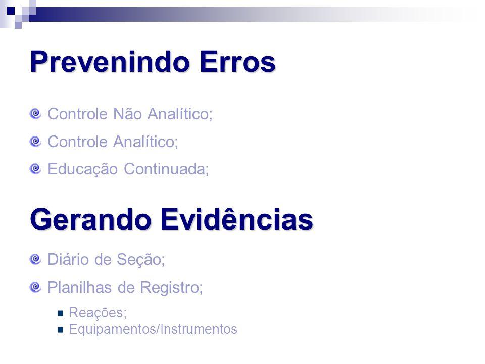 Prevenindo Erros Controle Não Analítico; Controle Analítico; Educação Continuada; Gerando Evidências Diário de Seção; Planilhas de Registro; Reações;