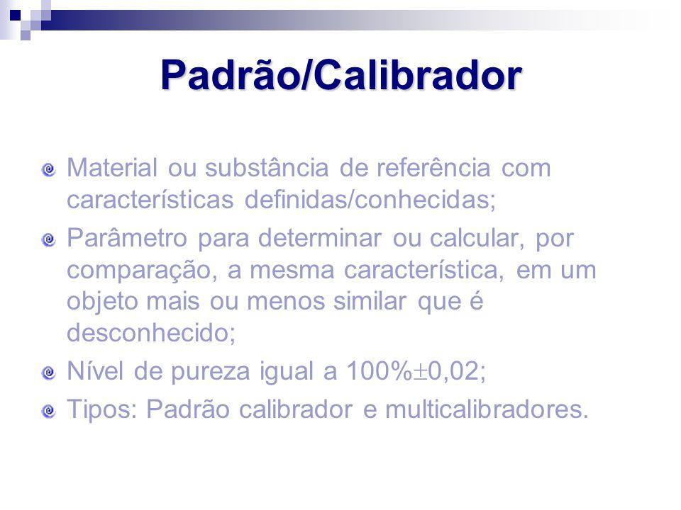 Padrão/Calibrador Material ou substância de referência com características definidas/conhecidas; Parâmetro para determinar ou calcular, por comparação