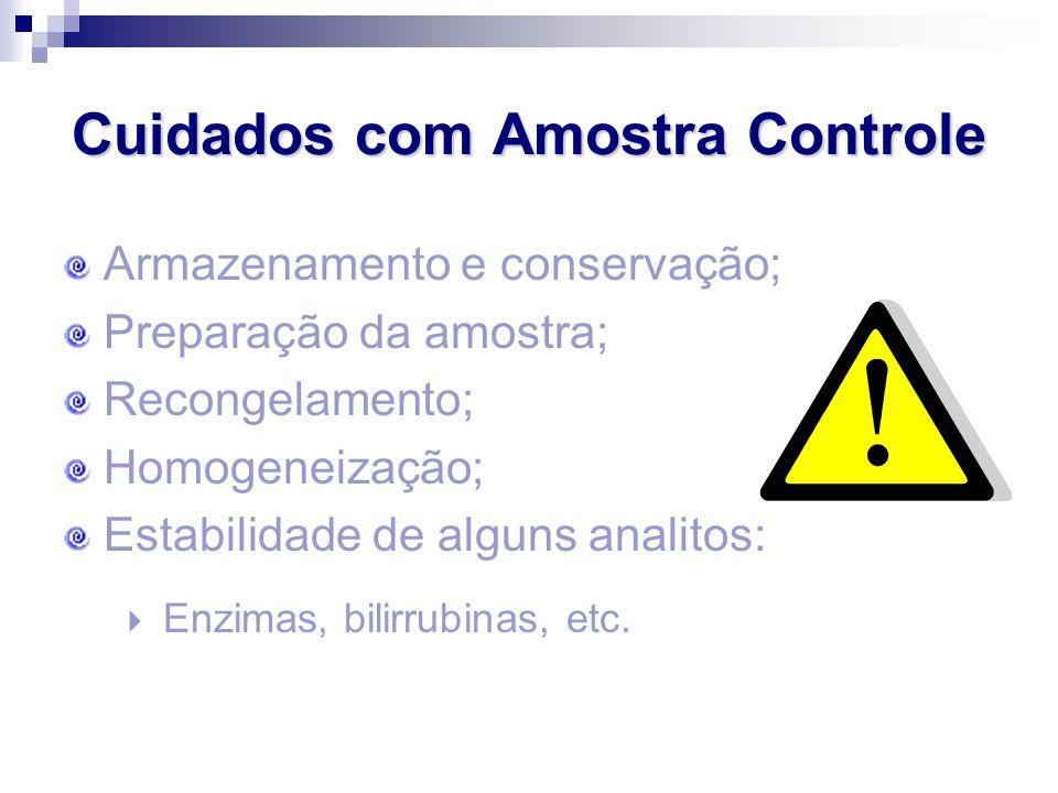 Cuidados com Amostra Controle Armazenamento e conservação; Preparação da amostra; Recongelamento; Homogeneização; Estabilidade de alguns analitos:  E