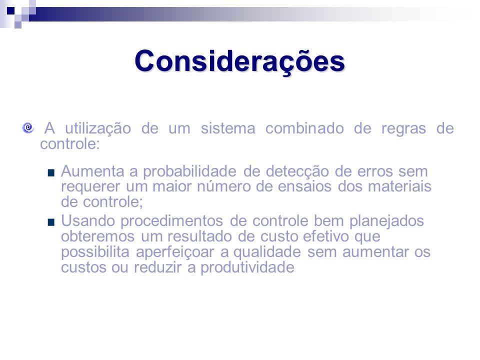 Considerações A utilização de um sistema combinado de regras de controle: Aumenta a probabilidade de detecção de erros sem requerer um maior número de