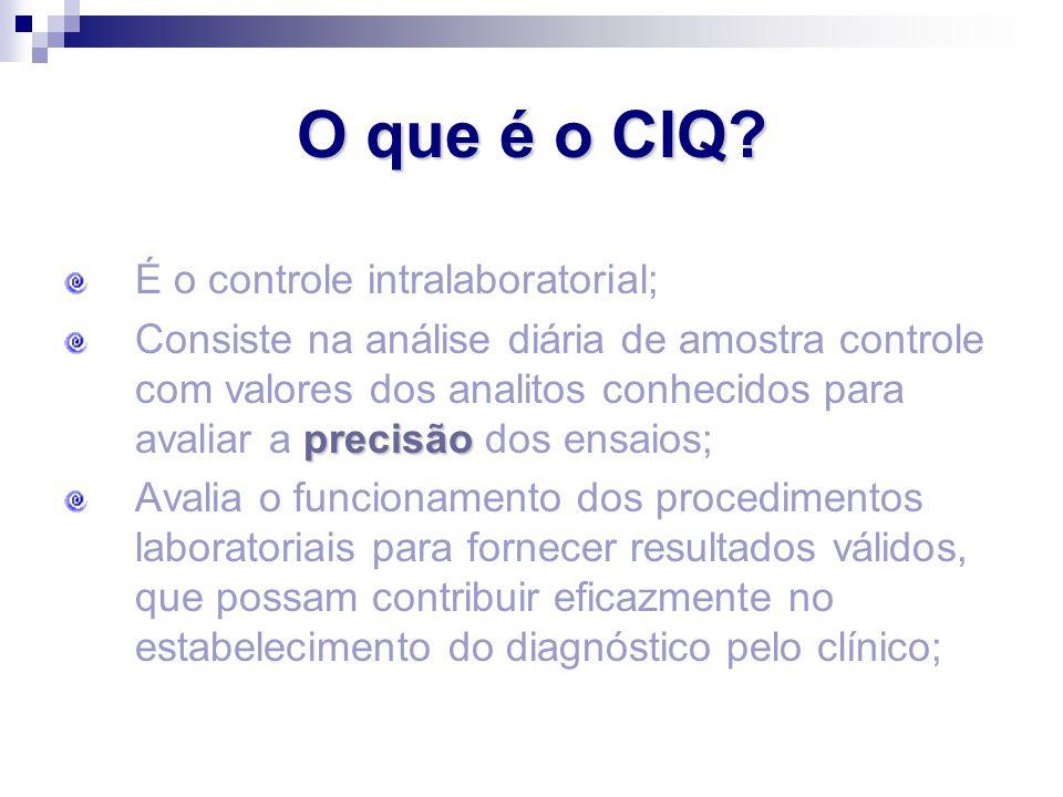Precisão com exatidão O objetivo do CQ é obter um resultado: exato (o exame representa o valor real do paciente) preciso (o exame é reprodutível).