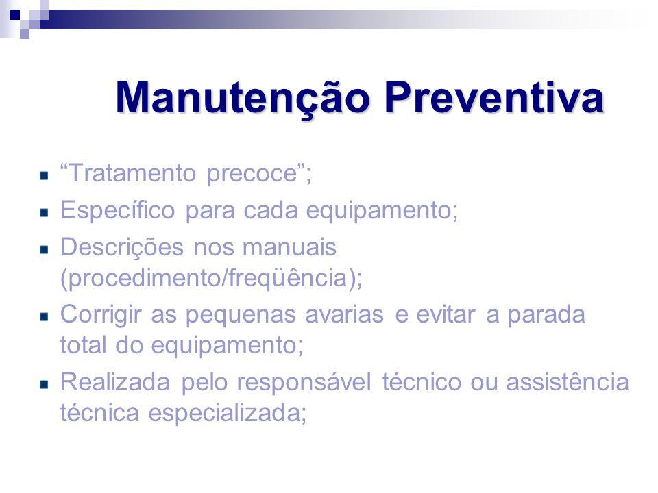 """Manutenção Preventiva """"Tratamento precoce""""; Específico para cada equipamento; Descrições nos manuais (procedimento/freqüência); Corrigir as pequenas a"""