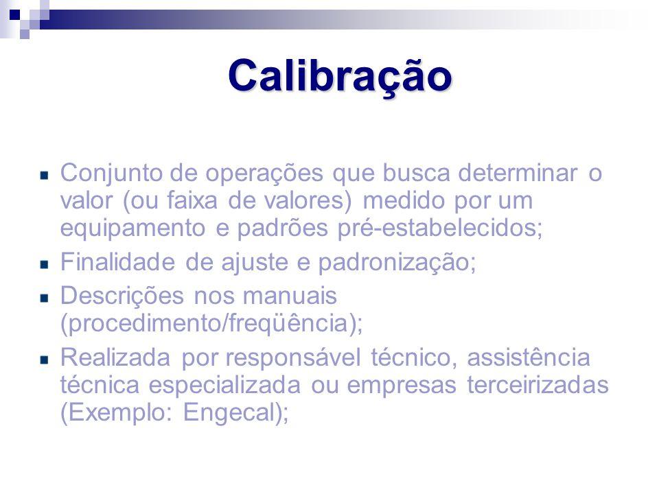 Calibração Conjunto de operações que busca determinar o valor (ou faixa de valores) medido por um equipamento e padrões pré-estabelecidos; Finalidade