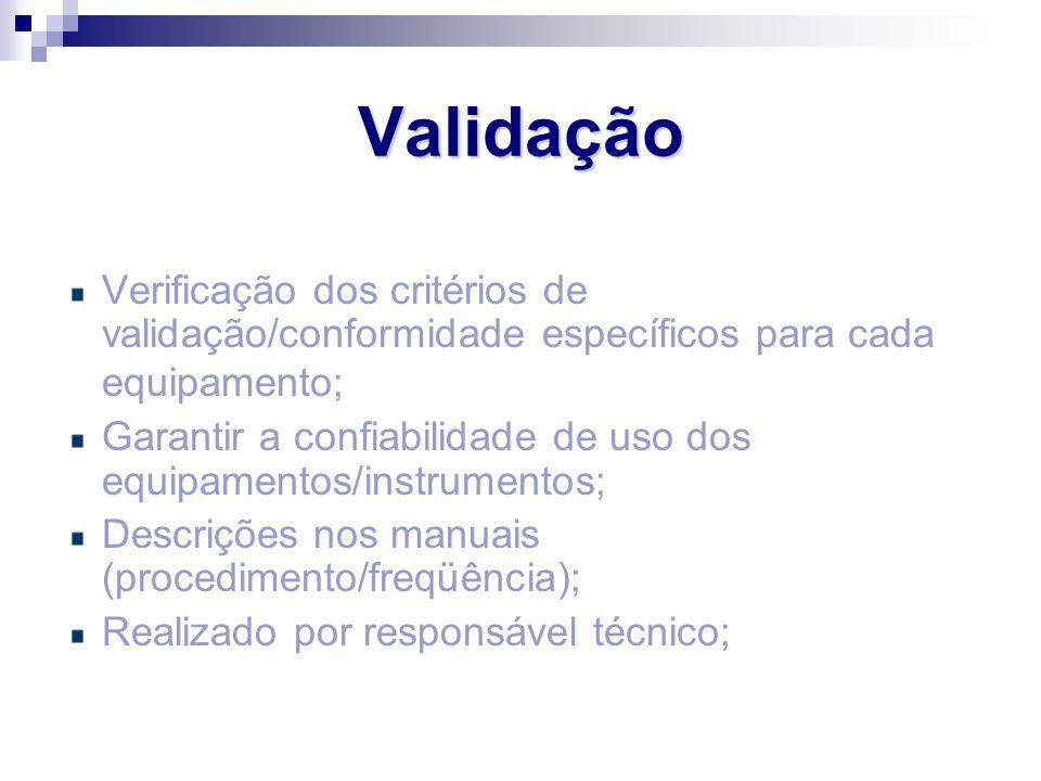 Verificação dos critérios de validação/conformidade específicos para cada equipamento; Garantir a confiabilidade de uso dos equipamentos/instrumentos;