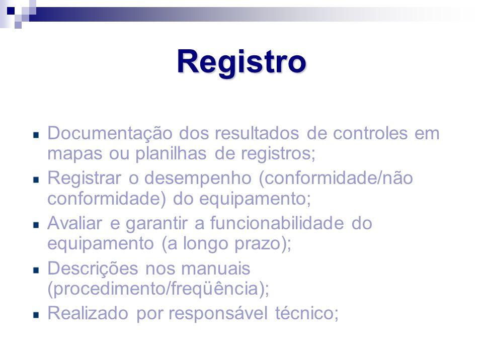 Documentação dos resultados de controles em mapas ou planilhas de registros; Registrar o desempenho (conformidade/não conformidade) do equipamento; Av