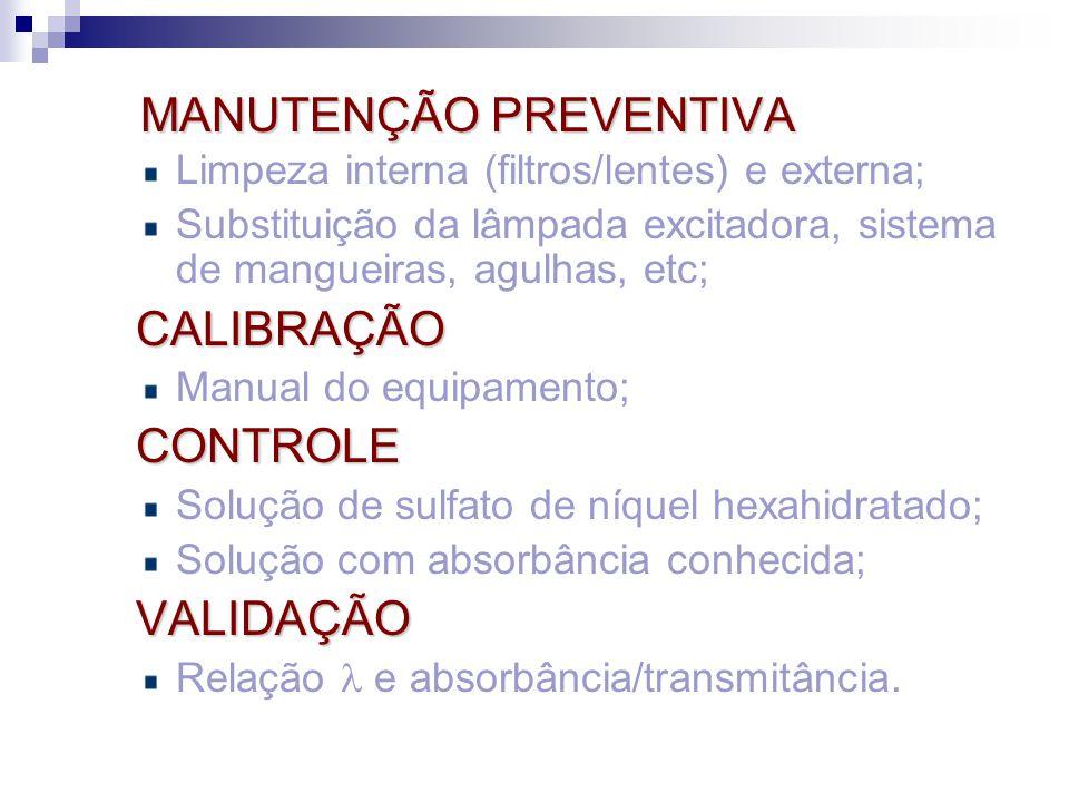 MANUTENÇÃO PREVENTIVA MANUTENÇÃO PREVENTIVA Limpeza interna (filtros/lentes) e externa; Substituição da lâmpada excitadora, sistema de mangueiras, agu