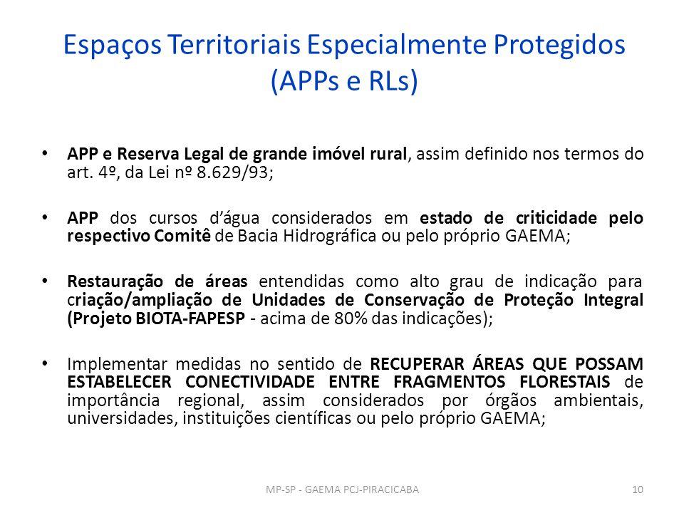 Espaços Territoriais Especialmente Protegidos (APPs e RLs) APP e Reserva Legal de grande imóvel rural, assim definido nos termos do art. 4º, da Lei nº