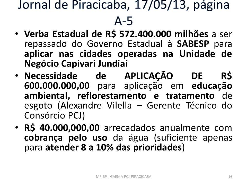 Verba Estadual de R$ 572.400.000 milhões a ser repassado do Governo Estadual à SABESP para aplicar nas cidades operadas na Unidade de Negócio Capivari Jundiaí Necessidade de APLICAÇÃO DE R$ 600.000.000,00 para aplicação em educação ambiental, reflorestamento e tratamento de esgoto (Alexandre Vilella – Gerente Técnico do Consórcio PCJ) R$ 40.000,000,00 arrecadados anualmente com cobrança pelo uso da água (suficiente apenas para atender 8 a 10% das prioridades) MP-SP - GAEMA PCJ-PIRACICABA16