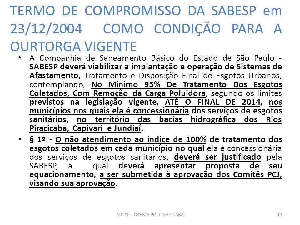 TERMO DE COMPROMISSO DA SABESP em 23/12/2004 COMO CONDIÇÃO PARA A OURTORGA VIGENTE A Companhia de Saneamento Básico do Estado de São Paulo - SABESP deverá viabilizar a implantação e operação de Sistemas de Afastamento, Tratamento e Disposição Final de Esgotos Urbanos, contemplando, No Mínimo 95% De Tratamento Dos Esgotos Coletados, Com Remoção_da Carga Poluidora, segundo os limites previstos na legislação vigente, ATÉ O FINAL DE 2014, nos municípios nos quais ela é concessionária dos serviços de esgotos sanitários, no território das bacias hidrográfica dos Rios Piracicaba, Capivari e Jundiaí.