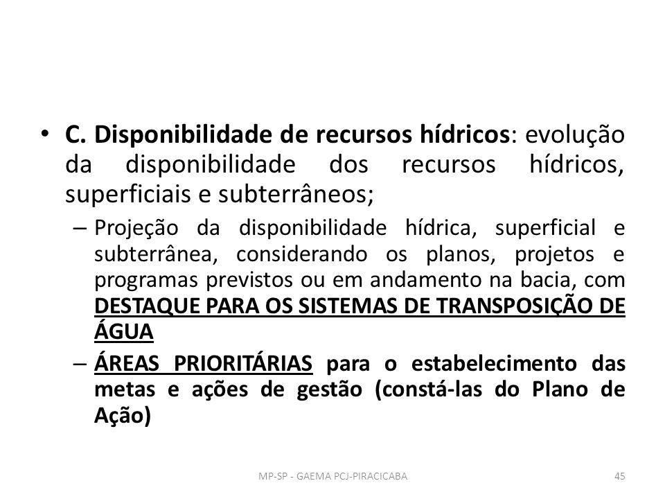 C. Disponibilidade de recursos hídricos: evolução da disponibilidade dos recursos hídricos, superficiais e subterrâneos; – Projeção da disponibilidade