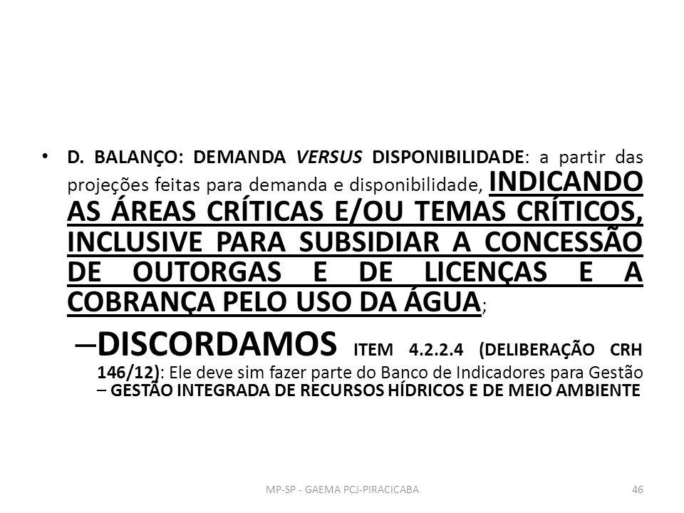 D. BALANÇO: DEMANDA VERSUS DISPONIBILIDADE: a partir das projeções feitas para demanda e disponibilidade, INDICANDO AS ÁREAS CRÍTICAS E/OU TEMAS CRÍTI