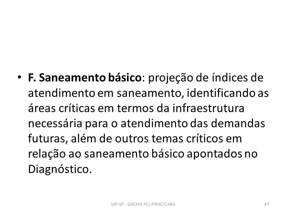 F. Saneamento básico: projeção de índices de atendimento em saneamento, identificando as áreas críticas em termos da infraestrutura necessária para o
