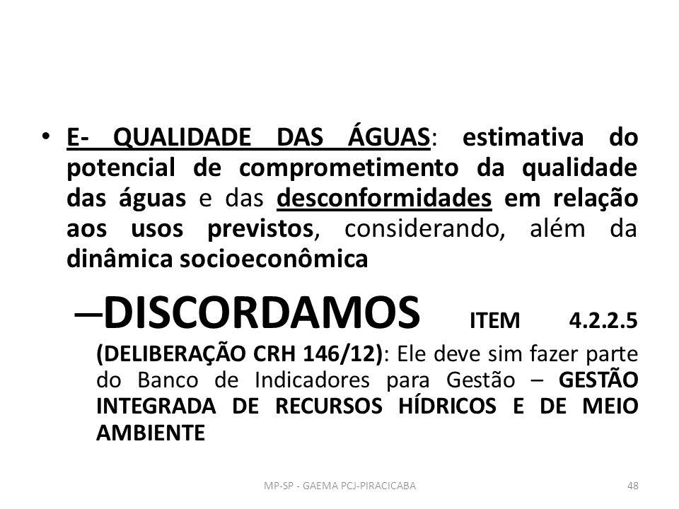 E- QUALIDADE DAS ÁGUAS: estimativa do potencial de comprometimento da qualidade das águas e das desconformidades em relação aos usos previstos, considerando, além da dinâmica socioeconômica – DISCORDAMOS ITEM 4.2.2.5 (DELIBERAÇÃO CRH 146/12): Ele deve sim fazer parte do Banco de Indicadores para Gestão – GESTÃO INTEGRADA DE RECURSOS HÍDRICOS E DE MEIO AMBIENTE MP-SP - GAEMA PCJ-PIRACICABA48