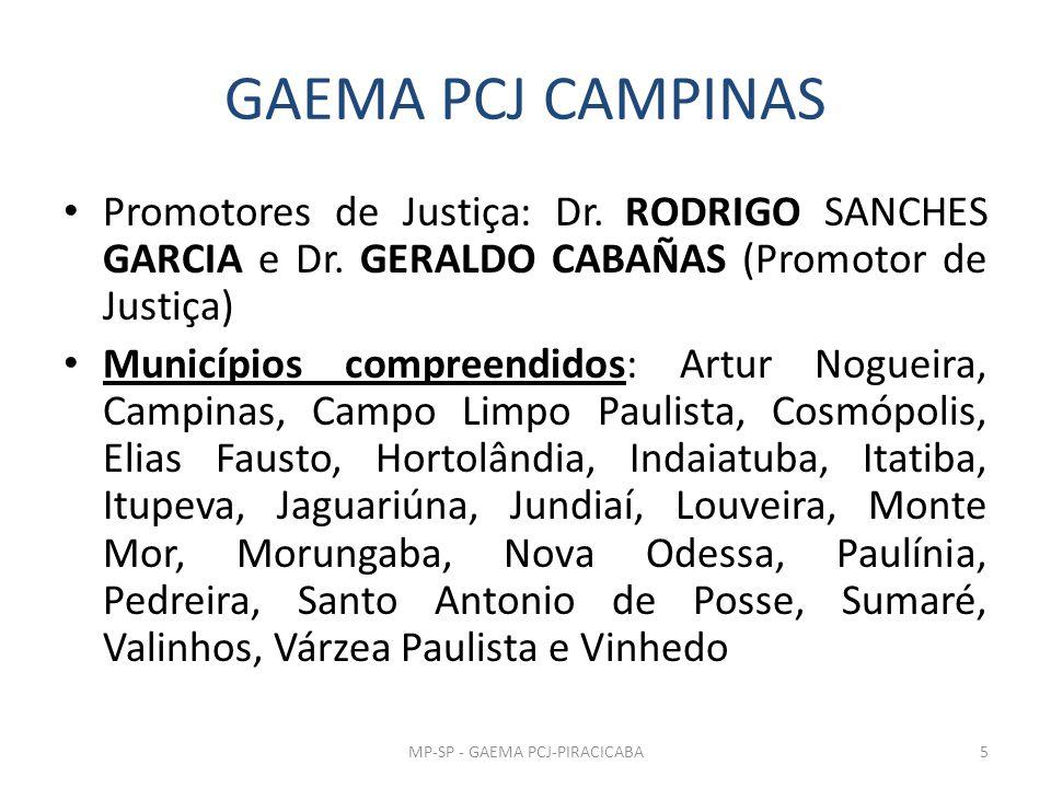 GAEMA PCJ CAMPINAS Promotores de Justiça: Dr. RODRIGO SANCHES GARCIA e Dr. GERALDO CABAÑAS (Promotor de Justiça) Municípios compreendidos: Artur Nogue