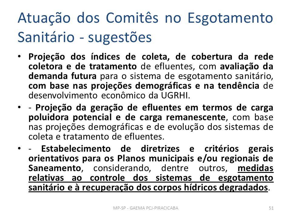 Atuação dos Comitês no Esgotamento Sanitário - sugestões Projeção dos índices de coleta, de cobertura da rede coletora e de tratamento de efluentes, c