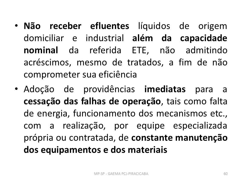 Não receber efluentes líquidos de origem domiciliar e industrial além da capacidade nominal da referida ETE, não admitindo acréscimos, mesmo de tratados, a fim de não comprometer sua eficiência Adoção de providências imediatas para a cessação das falhas de operação, tais como falta de energia, funcionamento dos mecanismos etc., com a realização, por equipe especializada própria ou contratada, de constante manutenção dos equipamentos e dos materiais MP-SP - GAEMA PCJ-PIRACICABA60