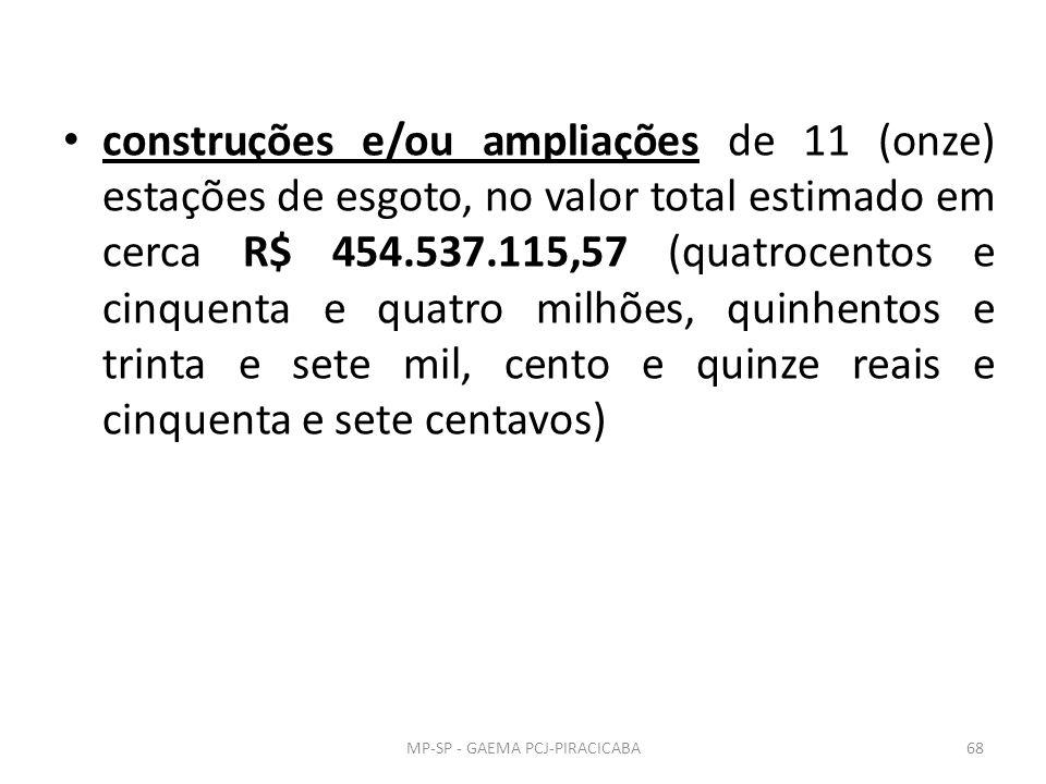construções e/ou ampliações de 11 (onze) estações de esgoto, no valor total estimado em cerca R$ 454.537.115,57 (quatrocentos e cinquenta e quatro milhões, quinhentos e trinta e sete mil, cento e quinze reais e cinquenta e sete centavos) MP-SP - GAEMA PCJ-PIRACICABA68
