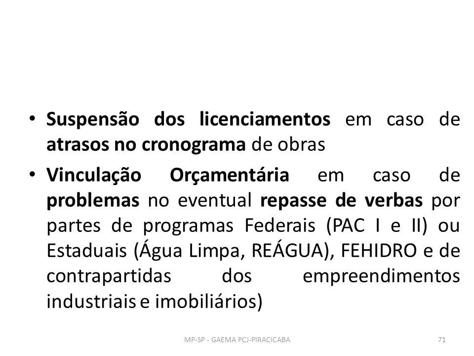 Suspensão dos licenciamentos em caso de atrasos no cronograma de obras Vinculação Orçamentária em caso de problemas no eventual repasse de verbas por partes de programas Federais (PAC I e II) ou Estaduais (Água Limpa, REÁGUA), FEHIDRO e de contrapartidas dos empreendimentos industriais e imobiliários) 71MP-SP - GAEMA PCJ-PIRACICABA