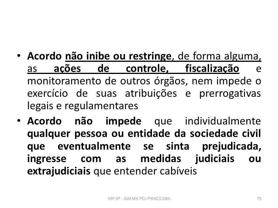 Acordo não inibe ou restringe, de forma alguma, as ações de controle, fiscalização e monitoramento de outros órgãos, nem impede o exercício de suas atribuições e prerrogativas legais e regulamentares Acordo não impede que individualmente qualquer pessoa ou entidade da sociedade civil que eventualmente se sinta prejudicada, ingresse com as medidas judiciais ou extrajudiciais que entender cabíveis MP-SP - GAEMA PCJ-PIRACICABA75