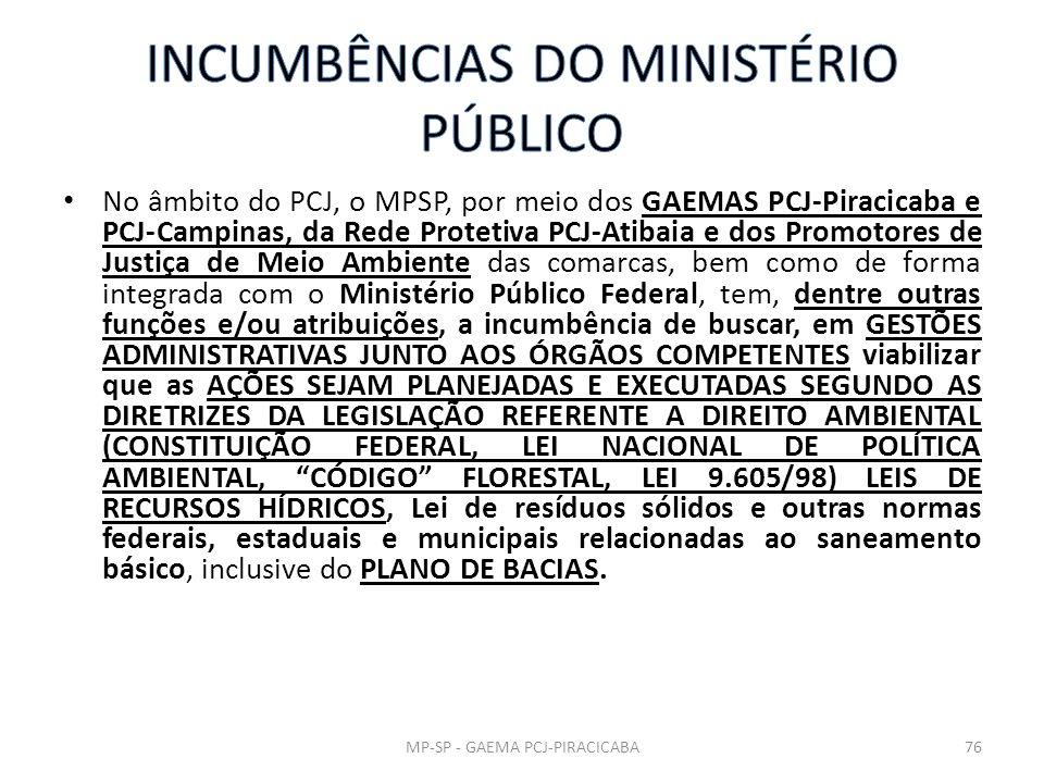 No âmbito do PCJ, o MPSP, por meio dos GAEMAS PCJ-Piracicaba e PCJ-Campinas, da Rede Protetiva PCJ-Atibaia e dos Promotores de Justiça de Meio Ambient
