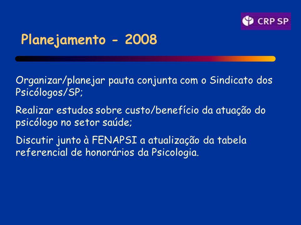 Planejamento - 2008 Organizar/planejar pauta conjunta com o Sindicato dos Psicólogos/SP; Realizar estudos sobre custo/benefício da atuação do psicólogo no setor saúde; Discutir junto à FENAPSI a atualização da tabela referencial de honorários da Psicologia.