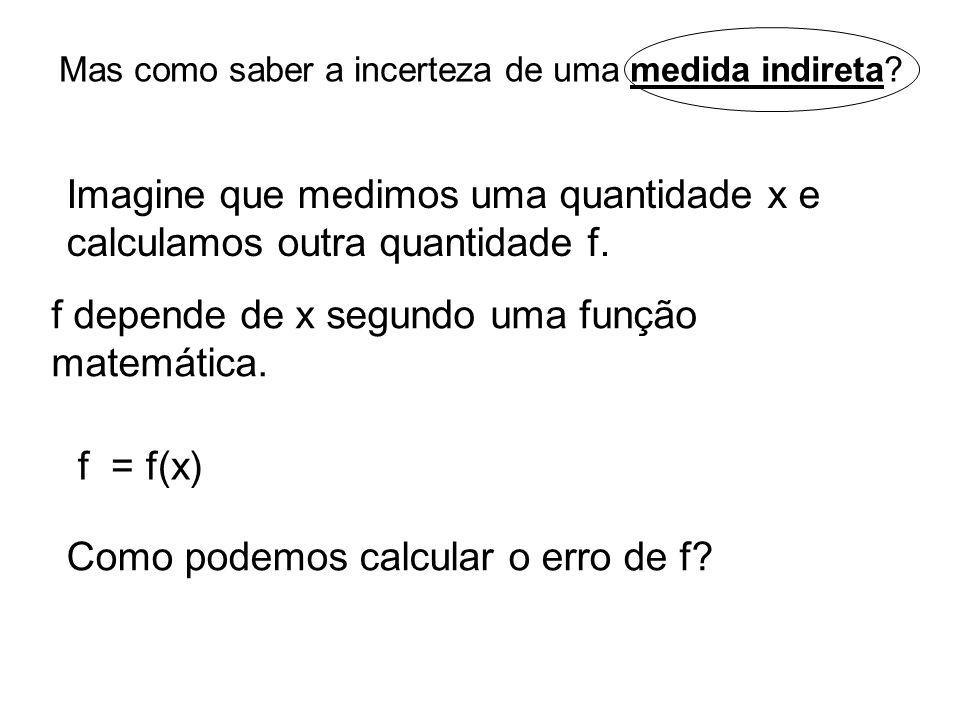 Mas como saber a incerteza de uma medida indireta? Imagine que medimos uma quantidade x e calculamos outra quantidade f. f depende de x segundo uma fu