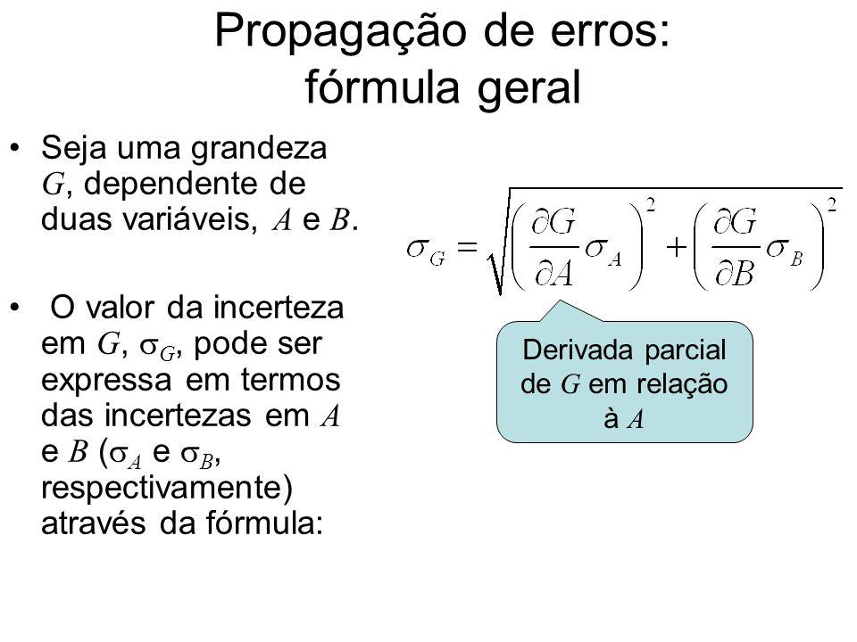 Propagação de erros: fórmula geral Seja uma grandeza G, dependente de duas variáveis, A e B. O valor da incerteza em G,  G, pode ser expressa em term
