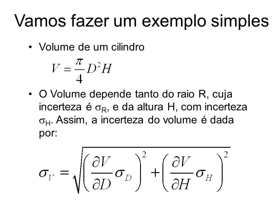 Vamos fazer um exemplo simples Volume de um cilindro O Volume depende tanto do raio R, cuja incerteza é  R, e da altura H, com incerteza  H. Assim,