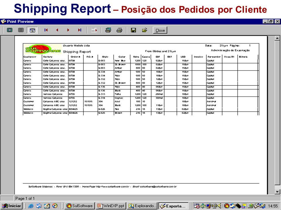 Shipping Report – Posição dos Pedidos por Cliente