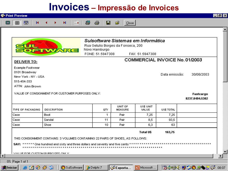 Invoices – Impressão de Invoices