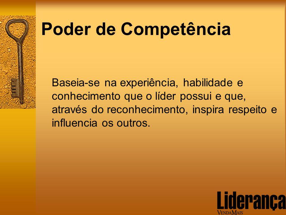 Poder de Competência Baseia-se na experiência, habilidade e conhecimento que o líder possui e que, através do reconhecimento, inspira respeito e influ