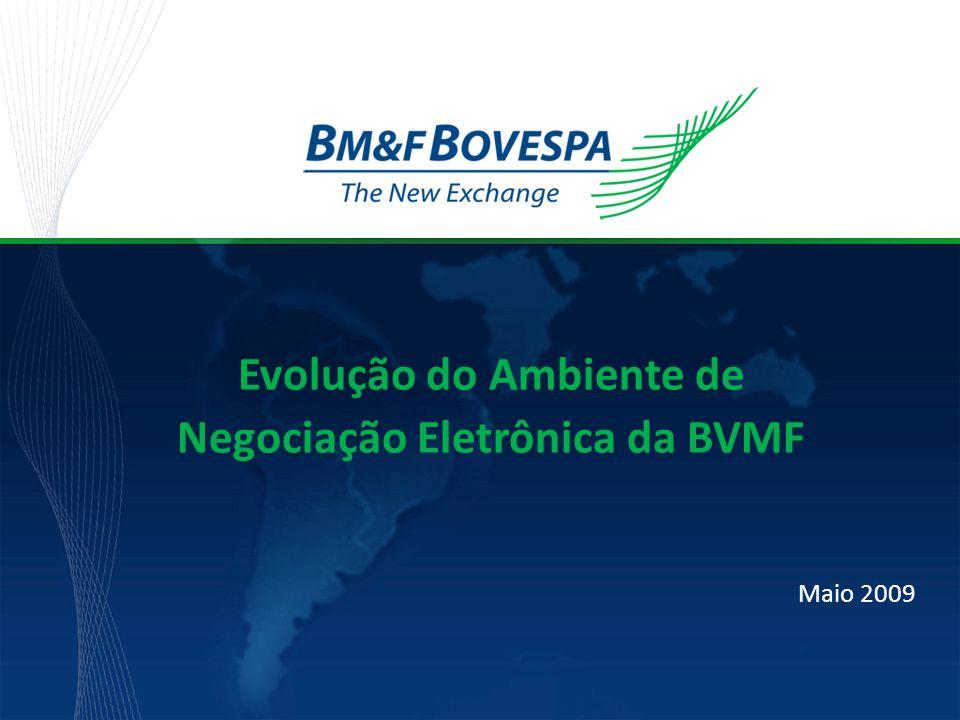 Título da apresentação Maio 2009 Evolução do Ambiente de Negociação Eletrônica da BVMF