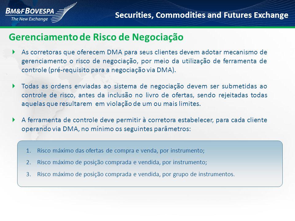 Securities, Commodities and Futures Exchange Gerenciamento de Risco de Negociação  As corretoras que oferecem DMA para seus clientes devem adotar mec