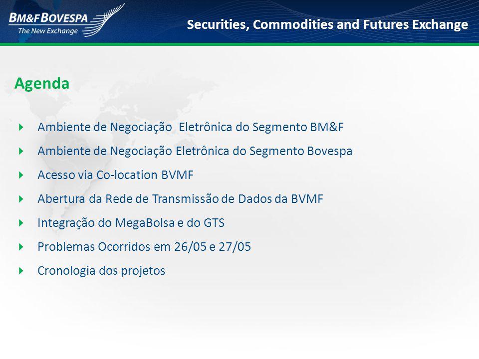 Securities, Commodities and Futures Exchange  Capacidade atual do segmento Bovespa: 770 mil negócios/dia  Capacidade programada do segmento Bovespa: 1,5 milhão de negócios/dia  Picos recentes de negociação: 437 mil negócios em 04/05/09 – 57% da atual capacidade 432 mil negócios em 06/05/09 – 56% da atual capacidade  Ampliação da capacidade da Clearing.