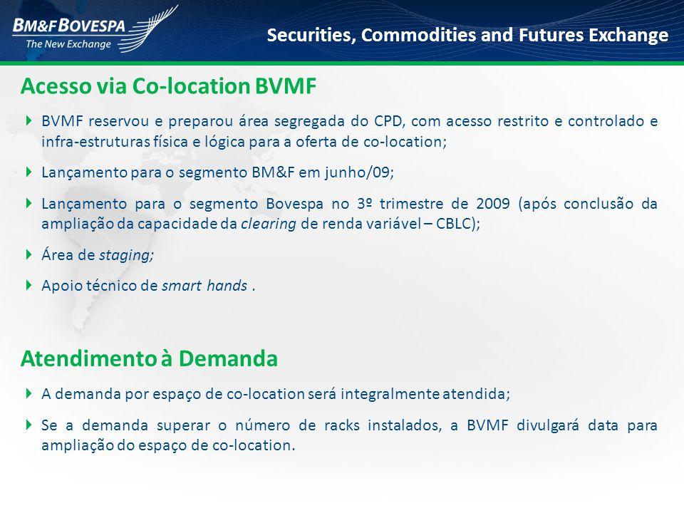Securities, Commodities and Futures Exchange Acesso via Co-location BVMF  BVMF reservou e preparou área segregada do CPD, com acesso restrito e contr
