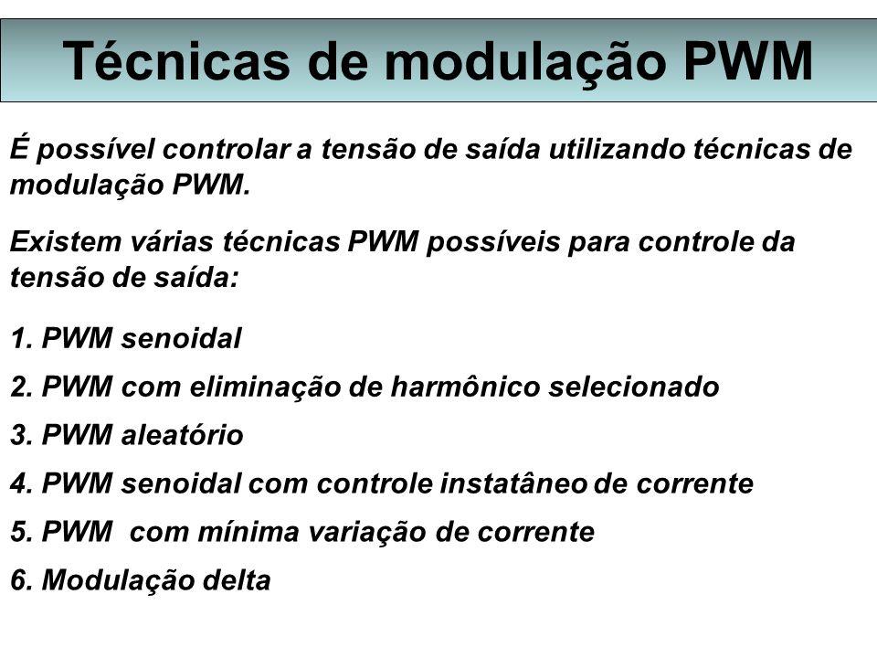 Técnicas de modulação PWM É possível controlar a tensão de saída utilizando técnicas de modulação PWM.