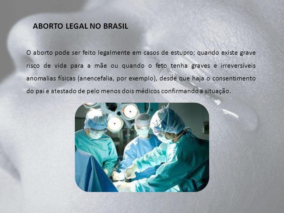 ABORTO LEGAL NO BRASIL O aborto pode ser feito legalmente em casos de estupro; quando existe grave risco de vida para a mãe ou quando o feto tenha gra