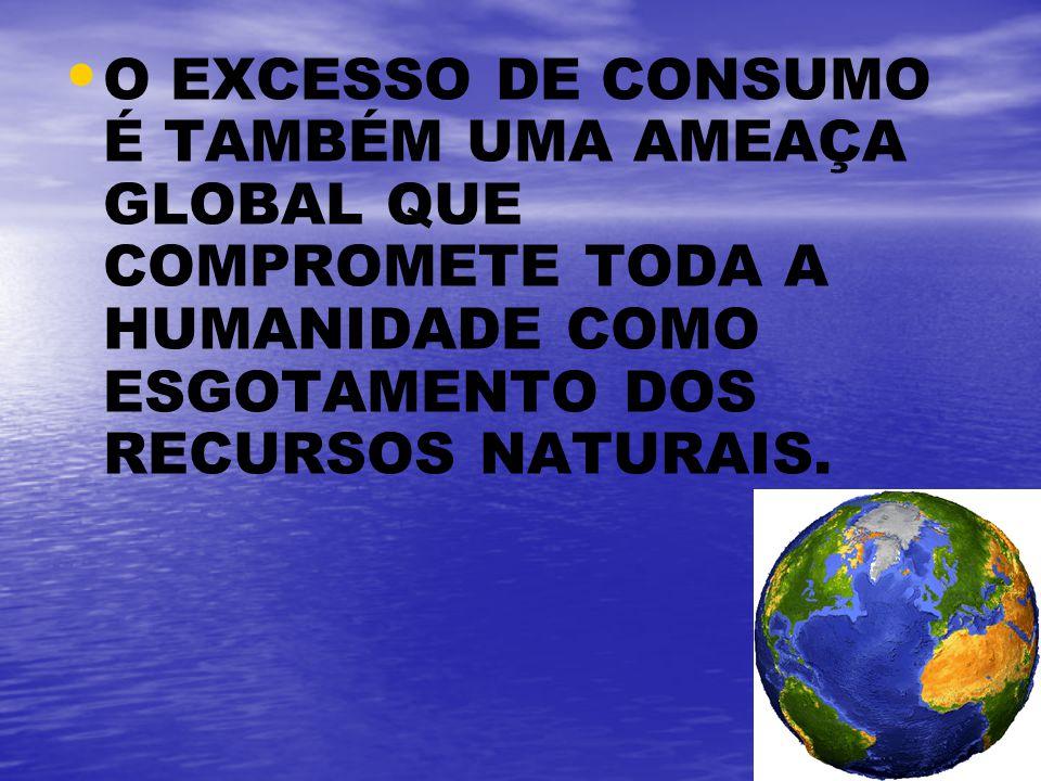 O EXCESSO DE CONSUMO É TAMBÉM UMA AMEAÇA GLOBAL QUE COMPROMETE TODA A HUMANIDADE COMO ESGOTAMENTO DOS RECURSOS NATURAIS.