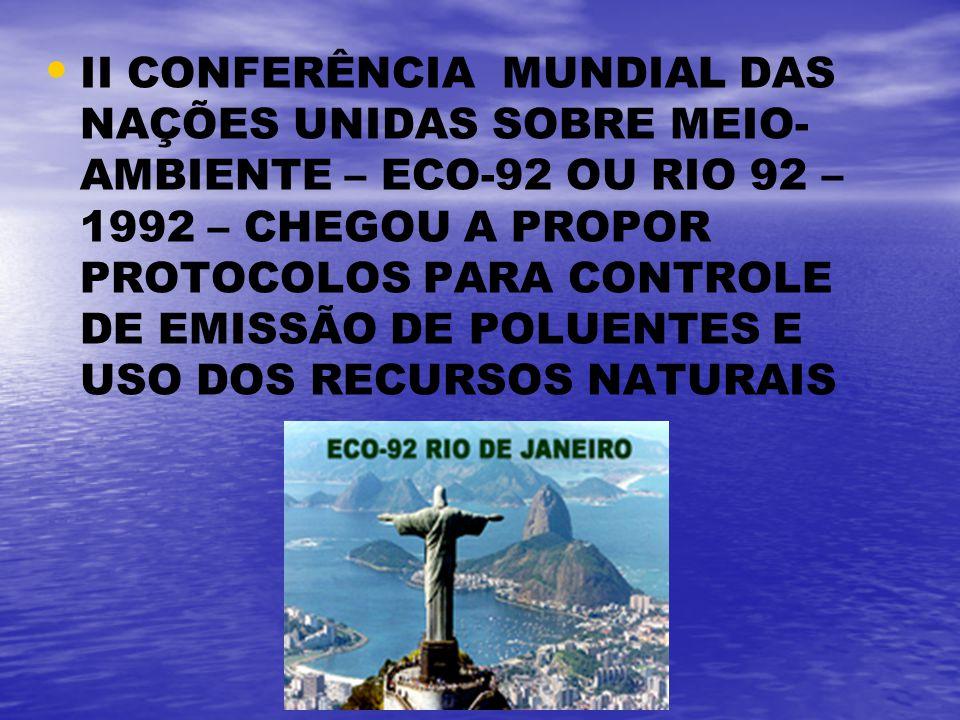 II CONFERÊNCIA MUNDIAL DAS NAÇÕES UNIDAS SOBRE MEIO- AMBIENTE – ECO-92 OU RIO 92 – 1992 – CHEGOU A PROPOR PROTOCOLOS PARA CONTROLE DE EMISSÃO DE POLUE
